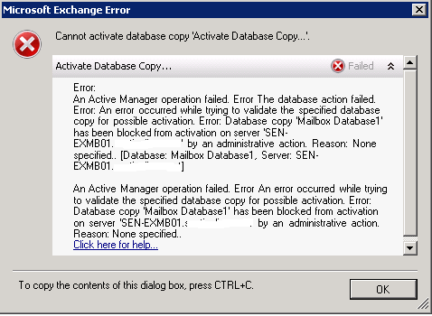 Cannot Activate database copy